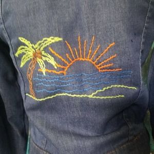 JCPenny Vintage Denim Embroidered Jacket Ole miss